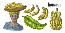 Two Single And Bunches Of Fresh Banana With Leaf. African Woman Carries A Basket With Fruits On Her Head.