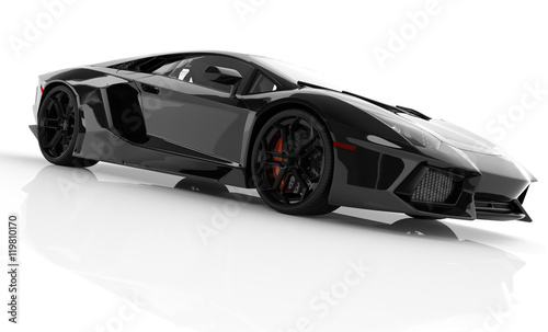 Fototapeta Black fast sports car on white background studio. Shiny, new, lu