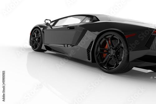 Fotografia, Obraz  Black fast sports car on white background studio. Shiny, new, lu