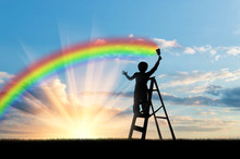 Child Paints A Rainbow In The ...