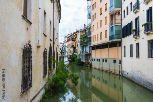Poster Ligurie canal San Massimo runs among residential houses in the centre of the old city Padua