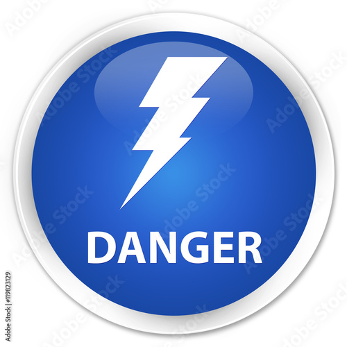 Danger (electricity icon) blue glossy round button - Buy