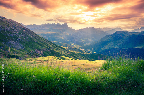 Dramatic sunrise in the dolomite Alps. Canvas-taulu