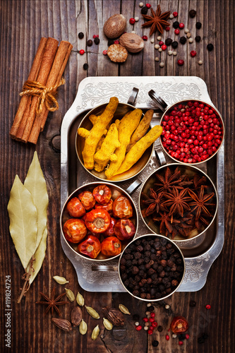 Spices, top view. Spices background - 119824724