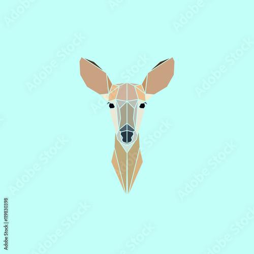 Roe Deer head geometry logo. Vector illustration. Poster Mural XXL