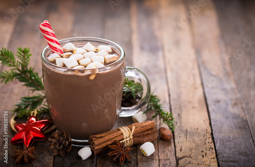 Spoed Foto op Canvas Chocolade Christmas hot chocolate with marshmallow
