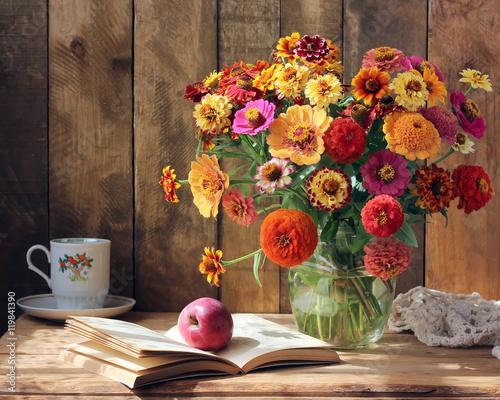 Papel de parede  Bouquet of garden flowers, an Apple and a book.