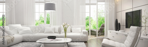 Foto  White living room with terrace