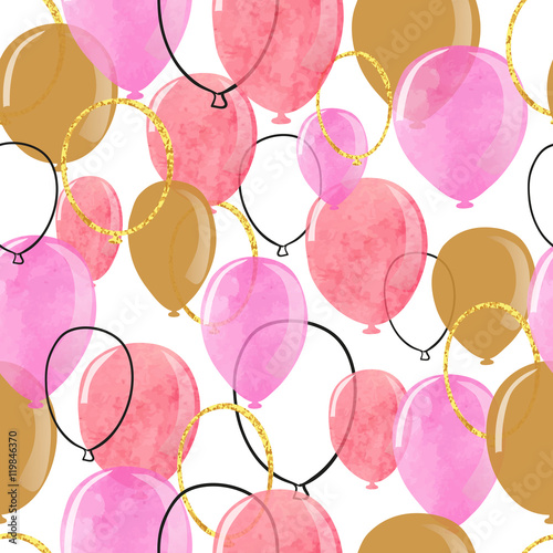 Cotton fabric Watercolor pink and glittering gold balloons seamless pattern. Vector celebration background.