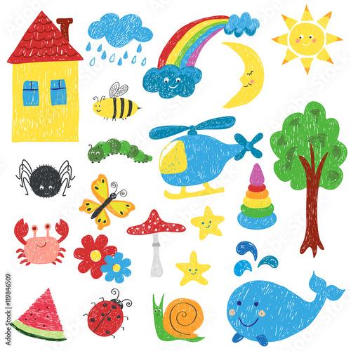 zestaw-rysunkow-dzieci-ilustracja-kolorowy-wektor