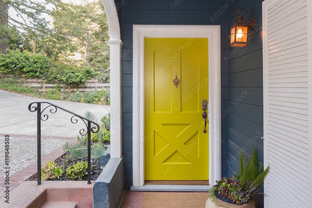 Fototapeta Yellow Green Entry Door / Front Door with single cylinder entran