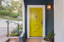 Yellow Green Entry Door / Front Door With Single Cylinder Entran