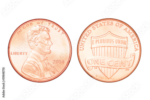 Fotografía  One US cent isolated