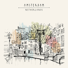 Amsterdam, Holland, Netherlands Europe. View Of Old Center With Bicycles. Dutch Traditional Historical Buildings. Hand Drawing. Travel Sketch. Book Illustration, Postcard Or Poster Template