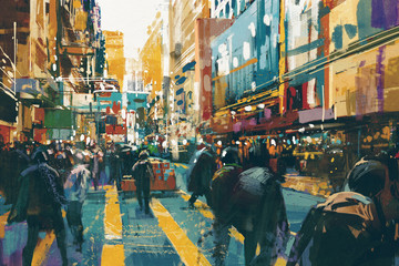 Fototapetapeople walking in colorful of city street,illustration painting