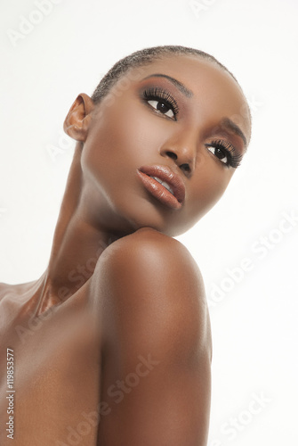 Makeup side portrait on african american woman Poster