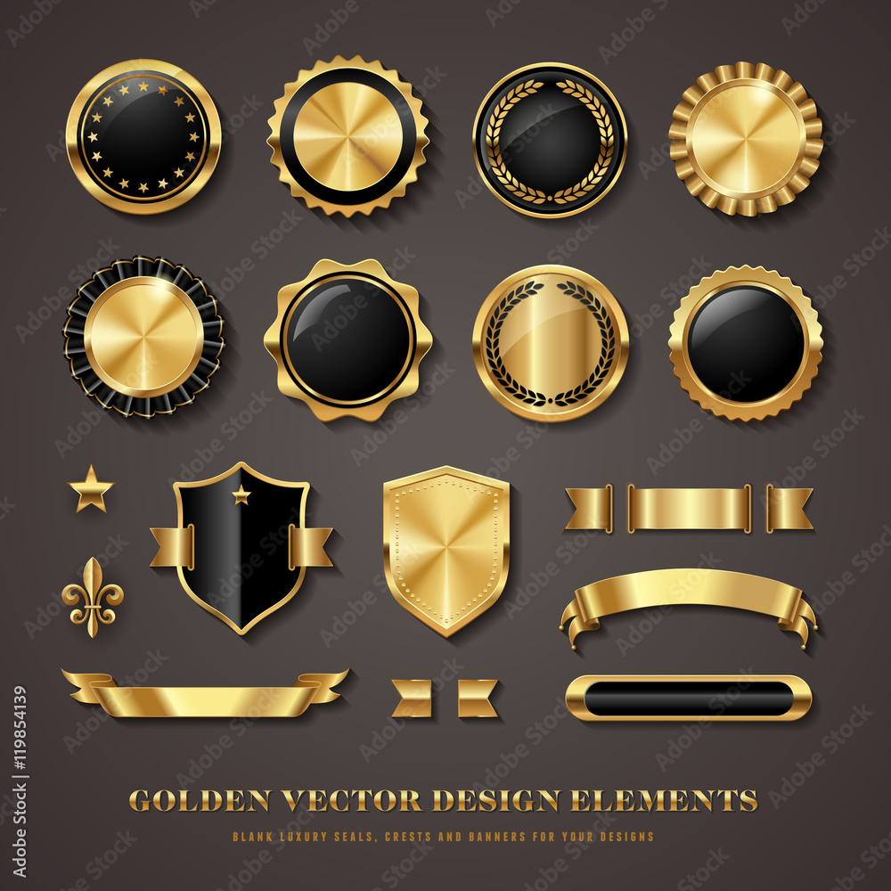 Fototapety, obrazy: collection of black and golden design elements - shields, labels, seals, banners, badges, scrolls and ornaments
