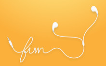 Earphones, Earbud Type White Color And Fun Text Made From Cable Isolated On Orange Yellow Gradient Background, With Copy Space