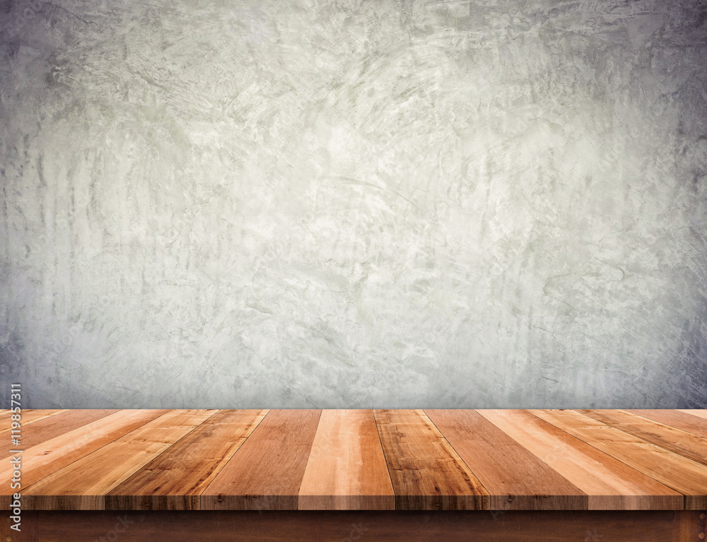 Empty brown wood plank table top with grunge concrete wall,Mock