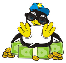 Money, Pack, Rich, Currency, Dollar, Cents, Change,  Penguin, Bird, Zoo, Animal, Cartoon, Profile, White, Black, Cute, Pose, Sit, Cool, Trendy