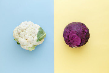 Fototapeta samoprzylepna Cauliflower and red cabbage on a bright color background. Seasonal vegetables minimal style. Food in minimal style.
