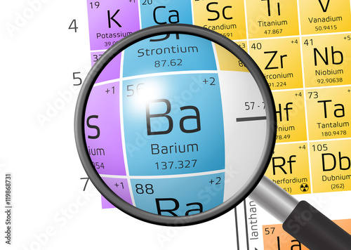 Element of Barium with magnifying glass Canvas Print