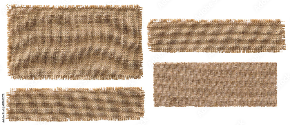 Fototapety, obrazy: Burlap Fabric Label Pieces, Rustic Hessian Patch Torn Sack Cloth