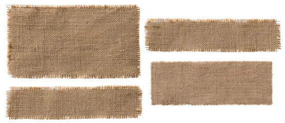 Burlap Fabric Label Pieces, Rustic Hessian Patch Torn Sack Cloth