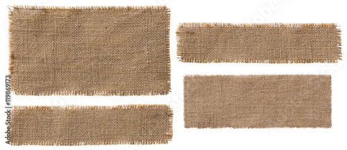 Photo sur Aluminium Tissu Burlap Fabric Label Pieces, Rustic Hessian Patch Torn Sack Cloth