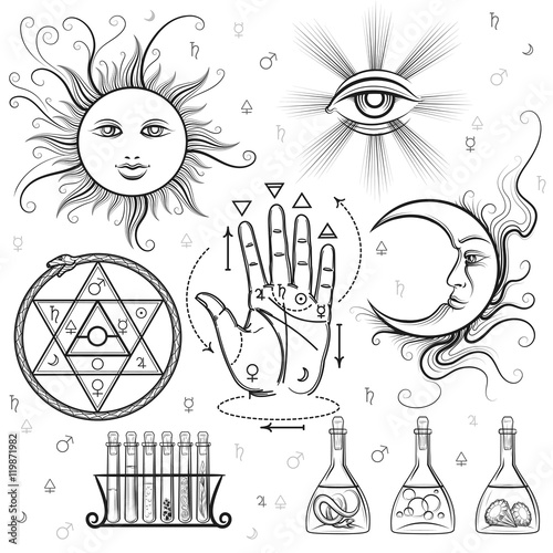 Esoteric Signs Vector Symbols Of Philosophy And Alchemy Masonic