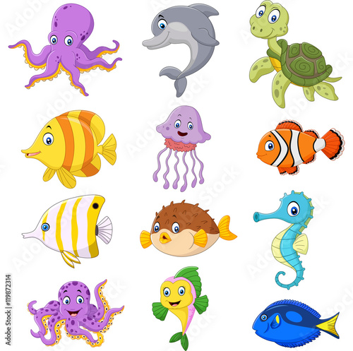 Leinwand Poster Cartoon sea life collection