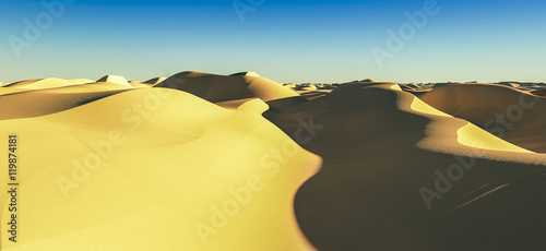 Tuinposter Zwavel geel 3d rendering dessert landscape03