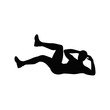 Isolated black silhouette of a man doing crunches on white background. Reverse crunches exercise. Healthy lifestyle.