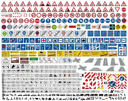 Verkehrszeichen STVO Sammlung icon Set Vektor / german traffic road sign icon vector collection set Wall mural