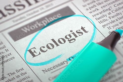Fotografie, Obraz  We're Hiring Ecologist. 3D Illustration.
