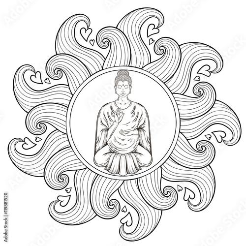 Vector Sitting Buddha In Lotus Pose Waves Mandala Teaching Jpg 500x500