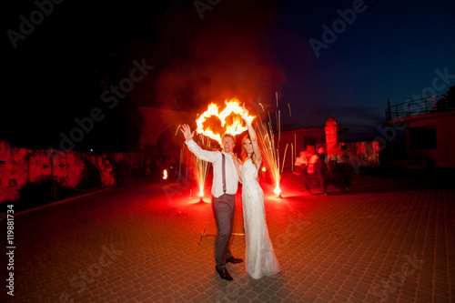Photo  Miracle fire show for happy wedding couple