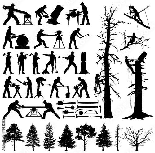Fotografiet  Lumberjack, tree climber, tools and trees editable vector silhouettes