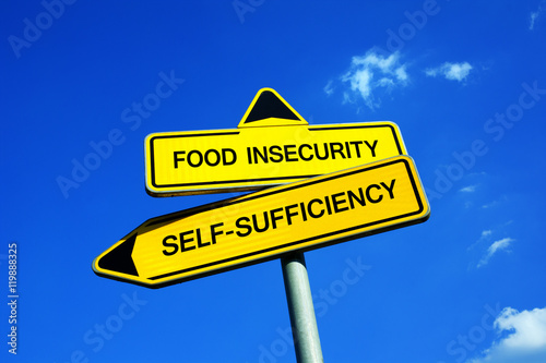 Valokuva  Food Insecurity or Self-Sufficiency - Traffic sign with two options - appeal to have self sufficient agriculture and cultivation of land