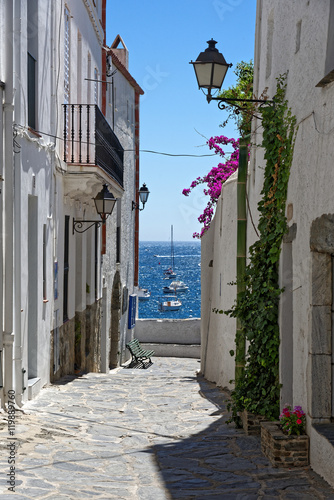 Canvas Prints Narrow alley Blick durch die Gasse zum Meer in Cadaques