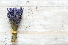 Bouquet Of Lavender On A Woode...