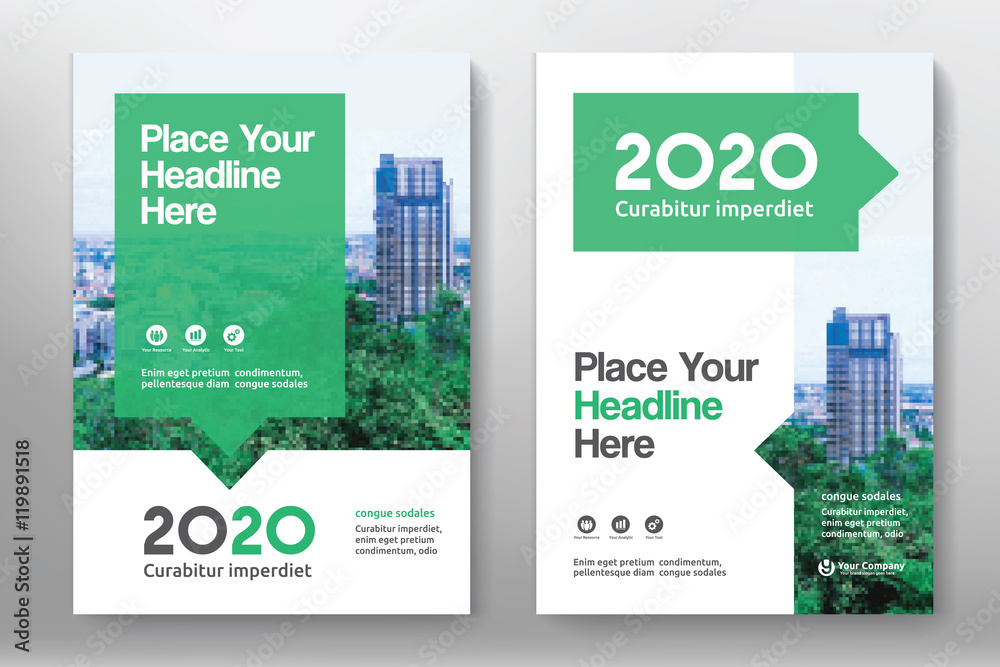 Fototapeta Green Color Scheme with City Background Business Book Cover Design Template in A4. Can be adapt to Brochure, Annual Report, Magazine,Poster, Corporate Presentation, Portfolio, Flyer, Banner, Website