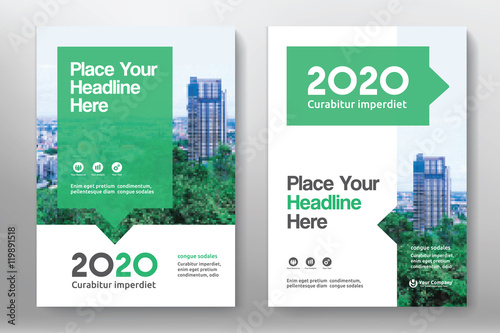 Obraz Green Color Scheme with City Background Business Book Cover Design Template in A4. Can be adapt to Brochure, Annual Report, Magazine,Poster, Corporate Presentation, Portfolio, Flyer, Banner, Website - fototapety do salonu