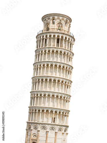 Fotografia, Obraz The Leaning Tower of Pisa isolated on white