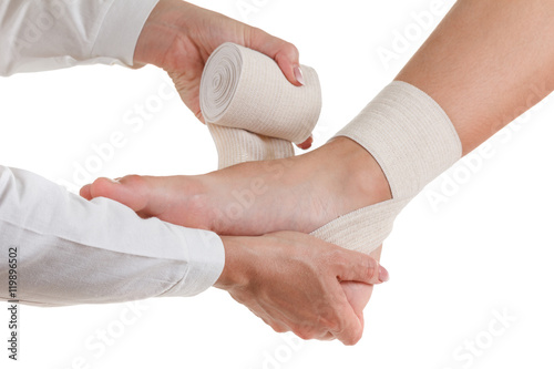 Fotografía Elastic supportive orthopedic bandage, compression stabilizer ankle, isolated on