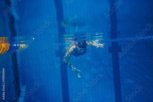 Swimmer woman underwater Canvas Print