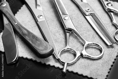 Fotografie, Obraz  Straight razor and different scissors