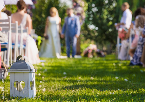 Wedding Decorations Groom And Bride Guests In The Garden Blurred