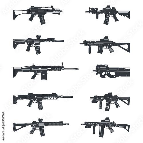 Obraz na płótnie assault rifles set