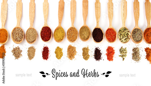 Printed kitchen splashbacks Herbs 2 Different spices in wooden spoons, isolated on white